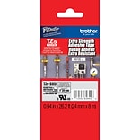 Brother® TZ Extra-Strength Laminated Adhesive Tape, 24mm, Black on Matte Silver