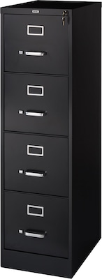 "Quill Brand® 4-Drawer Vertical File Cabinet, Locking, Letter, Black, 22""D (22337D)"