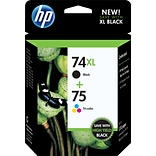 HP 74XL/75 Black/Color Ink Cartridges, High Yield/Standard, 2/Pack (CZ139FN#140)