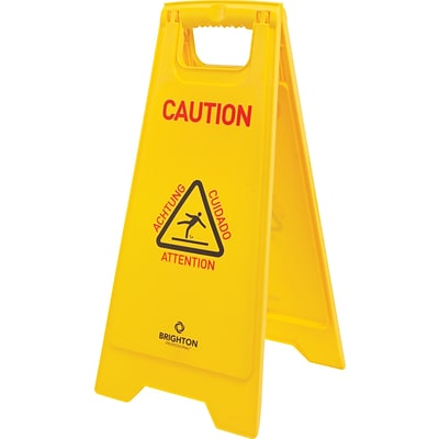 Brighton Professional™ 2-Sided Folding Floor Signs; Caution Wet Floor, Multilingual