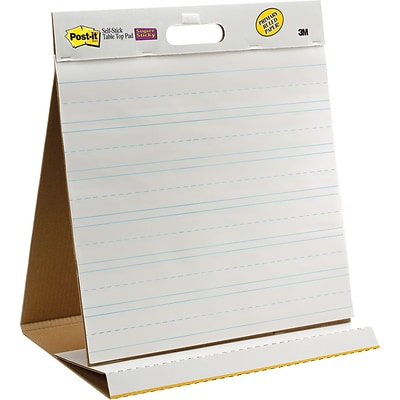 Post-it® Super Sticky Table-top Easel Pad, 20 x 23, White with Faint Blue Lines (563PRL)