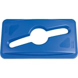 Rubbermaid Slim Jim® Single Stream Recycling Top for Slim Jim® Containers, Blue, 5 2/5H x 12 1/10W x 21 1/10L