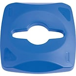 Rubbermaid Untouchable® Recycling Top, Blue, 8 3/10H x 16 2/5W x 16 2/5D