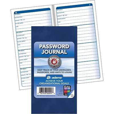 Adams® Password Journal, 6-1/4x3-1/4