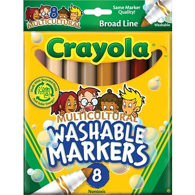Crayola Multicultural Washable Broad Line Markers, Conical Tip, Assorted Color, 8/Bx