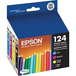 EPSON® T124120-BCS Moderate-Capacity Black and Color Ink Cartridge Multi-pack (4 cart per pack)
