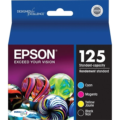EPSON® T125120-BCS Standard-Capacity Black and Color Ink Cartridge Multi-pack (4 cart per pack)