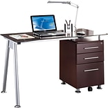 Techni Mobili Tempered Glass Top Computer Desk with Storage, Chocolate