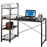 Techni Mobili Modern Tempered Glass Top Computer Workstation with Shelves, Grey