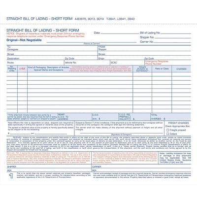 Adams® Carbonless Bill of Lading Forms, 8-1/2 x 7-1/2, 3 Part, 50/Pack