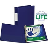 Samsill Clean Touch Anti-Microbial Locking Round Ring Storage Binder, Blue, 200-Sheet Capacity, 1 (