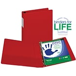 Samsill Clean Touch Anti-Microbial Locking Round Ring Storage Binder, Red, 300-Sheet Capacity, 1 1/2