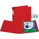 Samsill Clean Touch Anti-Microbial Locking Round Ring Storage Binder, Red, 450-Sheet Capacity, 3 (R