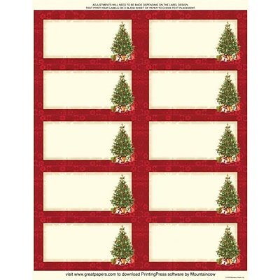 Great Papers® Holiday Shipping Labels Lacy Tree, 60/Count