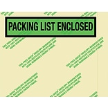 Staples Environmental Packing List Enclosed Envelopes, 7 x 5 1/2, Panel Face, 500/Case (PQGREEN1