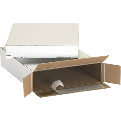 11.13 x 2 x 8.75 Self-Sealing Side Loading Boxes, 32 ECT, White, 25/Bundle (1128SSFOL)