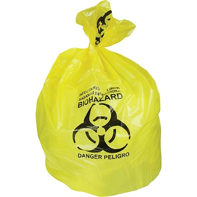 Heritage 30 Gal. Biohazard Liners, Yellow, 43L x 30W, 200/Carton (A6043PY)