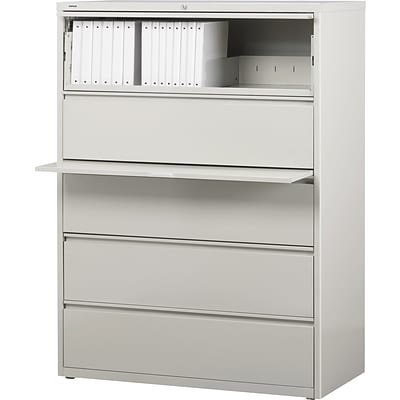 Quill Brand® HL8000 Commercial 42 Wide 5 Drawer Lateral File Cabinet, Light Gray