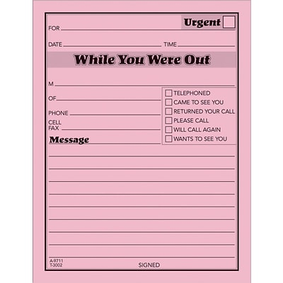 Adams® While You Were Out Message Pads, Pink, 12/Pack
