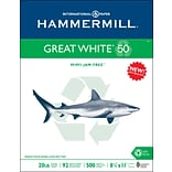 Hammermill Great White Copy Paper, 8-1/2 x 11, 92 Bright, 20 LB, 500 Sheets