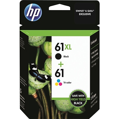 HP 61XL Black High-Yield & 61 Tri-Color Ink Cartridges, 2-Pack (CZ138FN)