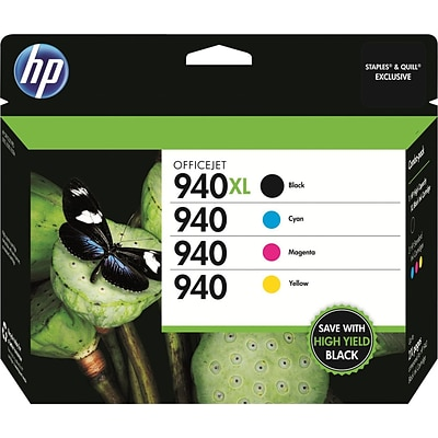 HP 940XL Black High Yield/Cyan/Magenta/Yellow Original Ink  Cartridges, Multi-pack (4 cart per pack)