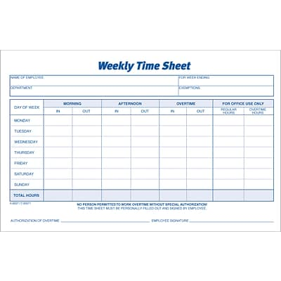 Adams® Weekly Time Sheet, Ruled, 1-Part, White, 8-1/2 x 5-1/2, 2/Pk