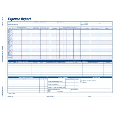 Adams® Employee Personnel File & Forms, Expense Report, 50 Per Pack, 8-1/2x11