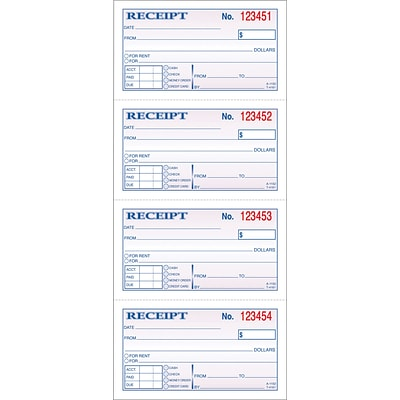 Adams® Carbonless Money/Rent Receipt Books, 2-Part