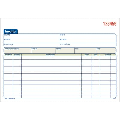 Adams Carbonless Invoice Form, 3-Part, 8 7/16 x 5 9/16