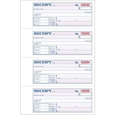 Carbonless Soft-Cover Money/Receipt Books, 2-Part, 200 sets/book, 11x7-5/8