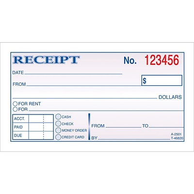 carbonless 2 part money receipt book quill com