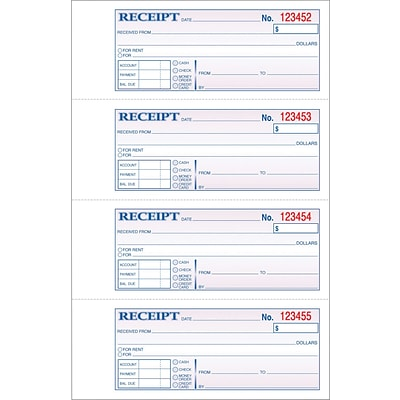 Adams Carbonless Receipt Book, 11 x 8, 3-Part, 100 Sets/Book (TC1182)