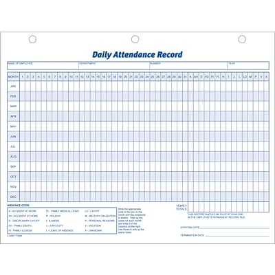 Adams® Employee Personnel File & Forms, Daily Attendance Record, 50 Per Pack, 8-1/2x11