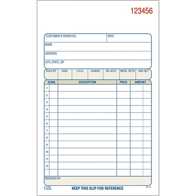 Adams® Carbonless Sales Order Form Book, 4-3/16 x 7-7/16, 2 Part