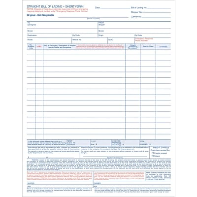 TOPS® Bill of Lading Unit Set,Ruled, 4-Part, 11-7/16 x 8-1/2
