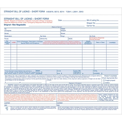Tops® Carbonless Bills of Lading Snap-Off Sets, 3 Part,  8-1/2x7