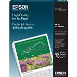Epson® High Quality Inkjet Paper, 8.5 x 11, 100 Matte Finish, White (S041111)