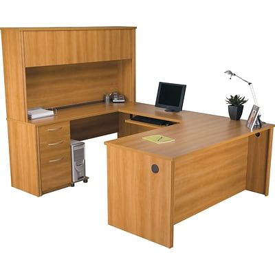Bestar® Embassy Collection in Cappuccino Cherry, U-Shaped Workstation w/ Hutch & Pedestal