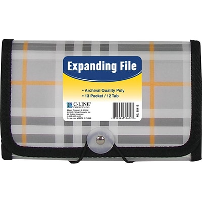 C-Line® Expanding File with 1-1/2 Expansion, Clear, Plaid