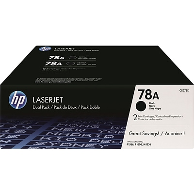 HP 78A Black Toner Cartridges, Standard, 2/Pack (CE278D)