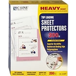 Sheet Protector, Top Load, Letter, 3-Hole Punched, For 8-1/2x11 Inserts, Heavy Guage, Clear, 200/B