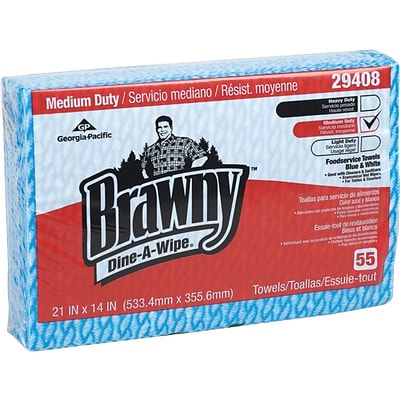 Brawny Dine-A-Wipe Foodservice Busing Towel, 1/4 Fold, Blue & White, 21 x 14, 330/PK