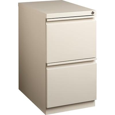 Superb 2 Drawer Mobile Pedestal File Cabinet, Putty, 23 Deep (19274)