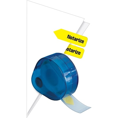 Redi-Tag® Yellow Notarize Flags with Dispenser, Each