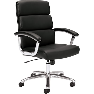 basyx by HON® VL103 Executive High-Back Chair, Black SofThread™ Leather