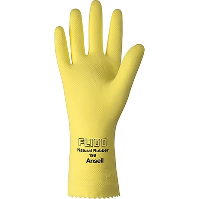Ansell® Latex Gloves, Natural Latex, Pinked Cuff, Size 10, Yellow, 12 Pair/Box