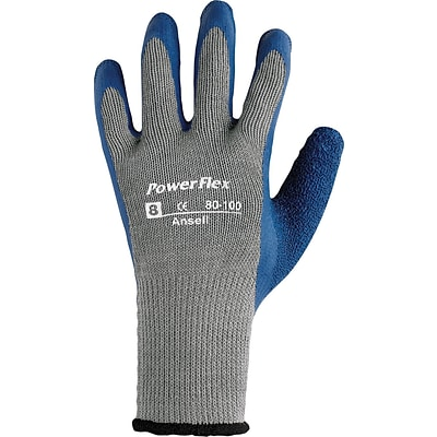 Ansell® PowerFlex® Coated Gloves, Poly/Cotton Knit, Continuous Cuff, Size 9, Grey/Blue, 12 Pair/Box