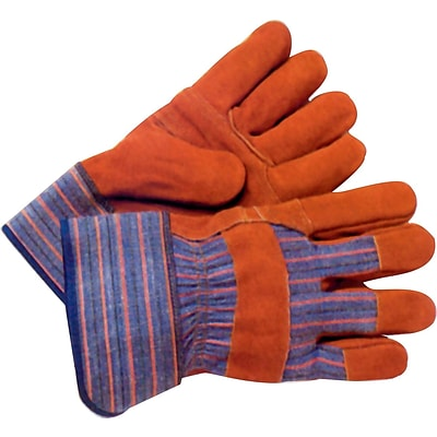 Anchor Leather Palm Work Gloves, Cowhide, Blue, Striped Back, Large, 12/Box (CW-777-XL)