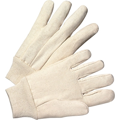 Anchor Brand Canvas Gloves, Cotton, Knit-Wrist Cuff, Mens Size, Unlined, White, 12 Pair/Box